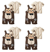Boy/Girl baby clothing monkey - 0 Year Baby summer clothes monkey cook modelling suspender trousers t shirt kids set boys girls overalls suits RT240