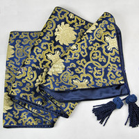 Wholesale 120 inches Extra Long Navy Blue Damask Printed Table Runners Banquet Tablecloths Bed Runner size L300 x W cm Free