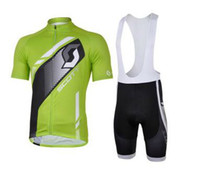 Wholesale NEW SCOTT Printed label Team Green Short sleeve Cycling Jersey Jackets Bib Shorts kit Size S XL