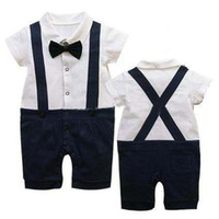 Boy Summer 100% Cotton Ne arrival Summer Classic Baby Boy Girl's Romper Infant Gentleman Suspender Short Sleeves Bow Tie Romper