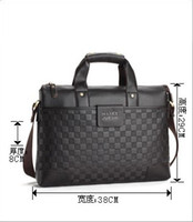 Wholesale Man Briefcase Man Shoulder Bag Brown Black Color Horizontal Embossed Style PU Leather PC B4