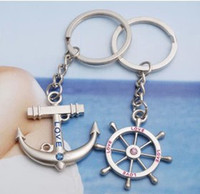 Wholesale Cool Anchors Rudder Couple Friend Stainless Ring Keychain