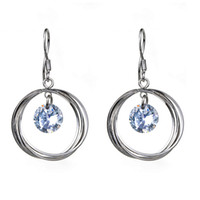 Women's circle hooks - Ring Circle x21mm Crystal CZ Eardrop Earrings Genuine Sterling Silver Charms Dangle Hook Fashion Women s