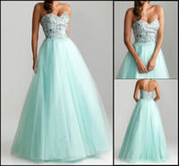Zipper Model Pictures Custom all Size Kissbridal001 New Girl's Aqua Turquoise tulle Crystal Bead Sparkly Rhinestones Sweetheart Bodice Floor Length Ball Gown Formal Prom Dresses