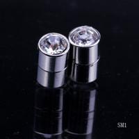 Silver Fashion Men's Mens Allergy free Crystal Ear Studs Solid 925 Sterling Silver Earrings Charms Dangle Eardrop Ear Hook Womens jewelry Free Shipping