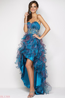 Ball Gown Sexy Beads Peacock ball gown organza Prom dresses with high low length BL 9603