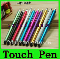 Wholesale Mix and Match Color Capacitive screen Metal stylus touch pen with clip for iphone3G GS S iPad iPod touch
