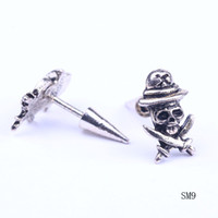 Wholesale Mens Allergy free Skull man Ear Studs Punk Rock Alloy Earrings Charms Ear Nail Bullet Back Jewelry