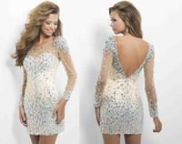 Wholesale Sexy Sheer Neck Crystal Beads Sexy Backless Tulle Long Sleeves Rhinestone Sheath Short Mini Cocktail Dresses Partt Gowns Homecoming Dresses