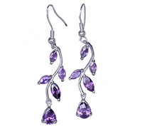 Silver Fashion Women's Fashion Sexy Jewelry Crystal Women Lady Amethyst Leaf Genuine 925 Sterling Silver Dangle Earrings Eardrop SF173
