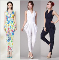 Wholesale Ladies Cute rompers womens jumpsuit White Navy Blue Ruffles Pleat Spring Summer Elegant Hot Long Pants Body suits overall