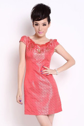Wholesale Red Pink Prom Evening Cocktail Party Dress Homecoming dress Chinese Cheongsam Knee Length Women s Summer