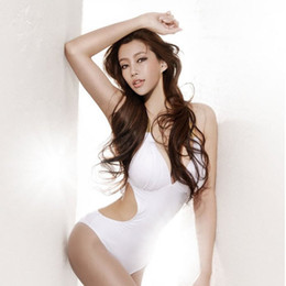 Wholesale Sexy White Woman s Bikini Swimsuit Swimwear One Piece Monokini Halter Back Tied Summer Swimsuit Bathing Suit Swimwear Big Size M L XL