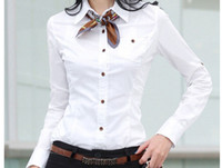 Women Cotton Long Sleeve Hotsale Solid Shirts Figure Flattering Formal Slim Waist Turn-down Long Sleeve Button Cotton Black White Women's Shirts Fashion QZY6-18