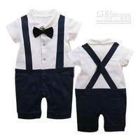 Boy Short Sleeve Summer Summer Classic Baby Boy Girl's Romper Infant Gentleman Suspender Short Sleeves Bow Tie Romper Kids One-piece Clothes zv
