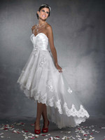 Autumn/Spring high low wedding dress - A line high Low Lace appliques wedding dress with zip back S2930