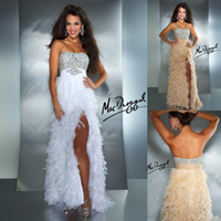 Wholesale Softly Sexy Strapless Front High Split Feather Beads Crystal Sequin White and Champagne Prom Dress Formal Evening Dresses