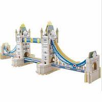 Wholesale Kids educational toys Wooden D puzzle Building Blocks model famous Petronas Twin Tower Bridge in London wooden toys DIY games t5384