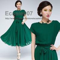 Wholesale GREEN WOMEN S MAXI CHIC CHIFFON BELT LONG BALL PARTY GOWN DRESS EVENING SKIRT