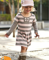 leather and fur garment - QZ top quality baby dresses girl pink striped long sleeve dress autumn children garment And Retail