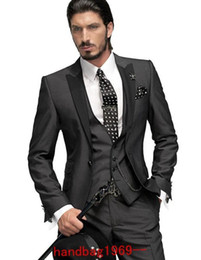 Slim fit One Button Charcoal Grey Groom Tuxedos Best Man Peak Black Lapel Groomsmen Men Wedding Suits Bridegroom (Jacket+Pants+Tie+Vest) F2