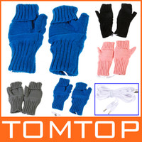 Wholesale 2 Colors Knitting Wool Heated Fingerless USB Gloves Warmer for Women Men C1518 pair DHL