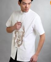 Wholesale Handsome Chinese Men s Cotton Kung Fu Shirt Tops White Sz M L XL XXL XXXL