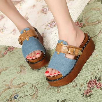 Wholesale - cool platform shoes sandals denim women's shoes platform