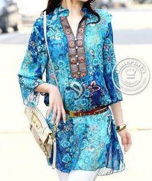 Free shipping Red Blue.Size:M,L,XL,XXL,3XL,4XL.Summer suit V-neck Floral women's chiffon print fashion dress plus size dress