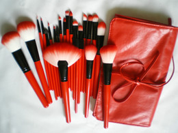 Wholesale RED HOT X MAS GIFT Pieces professional Makeup Brushes Kit Synthetic Cosmetic Set Beauty Brushes PU cosmetic bag