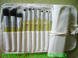 Wholesale SYNTHETIC HAIR MAKEUP Makeup Brush ECO BAMBOO Handle Brush Synthetic Makeup Brush set Travel Kit with WASHABLE LINEN CLOTH Makeup Bag