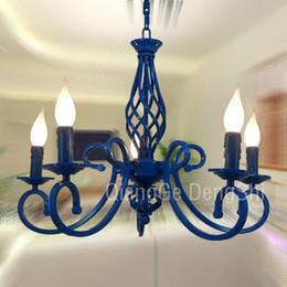 "23"" 5 Lights Mediterranean Chandelier Luxury Painted Blue Black Iron New Modern Dining Room Parlor Chandelier Bedroom Ceiling Pendant lamp"