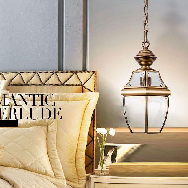 European Vintage Copper Bedroom Chain Ceiling Pendant Lights Hallway Gallery