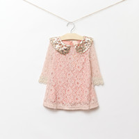Baby girl kids lace dress sequin Sequins dress hollow flower...