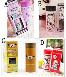 Wholesale 2013 Hot New Infant Baby vacuum cups Designs cute cartoon print stainless steel cup kids holding water bottles good gift ML