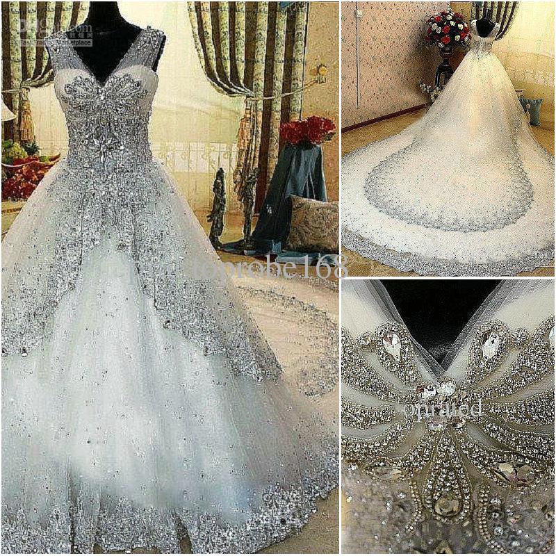 Discount Fashion Real Photo 2013 Newest Luxury Bride Dress V Neck ...