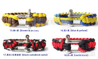 Wholesale 2013 New Arrival Beautiful Paracord Parachute survival Bracelets Hand Made with Steel buckle Emergency evacuation bracelet