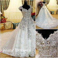 Wholesale Cap sleeves white ivory sweetheart real photo Newest Luxury bride dress tulle Swarovski crystals Applique Bead cathedral wedding dresses