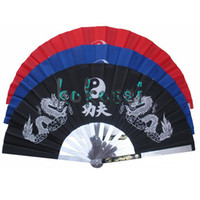 Wholesale New Chinese Kung Fu Fan Martial Arts Tai Chi Stainless Steel Fan Dragon Black