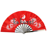 Wholesale New Chinese Kung Fu Fan Martial Arts Tai Chi Stainless Steel Fan Dragon Red