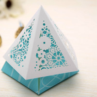 Wholesale 3 Colors Hollow out Pyramid Wedding Favor Box Paper Gift Box Sweet Candy Box personality Nobility Chocolate boxes
