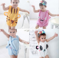 Unisex Summer 100% Cotton 2013 summer baby clothes all cotton animal vest style newborn jumpsuits boys and girls rompers 4 colour 3 size 12 pcs lot XR566