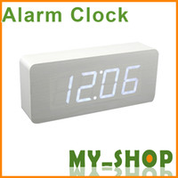 Wholesale LED rectangular wooden clock Creative Desktop electronic clock wooden clock