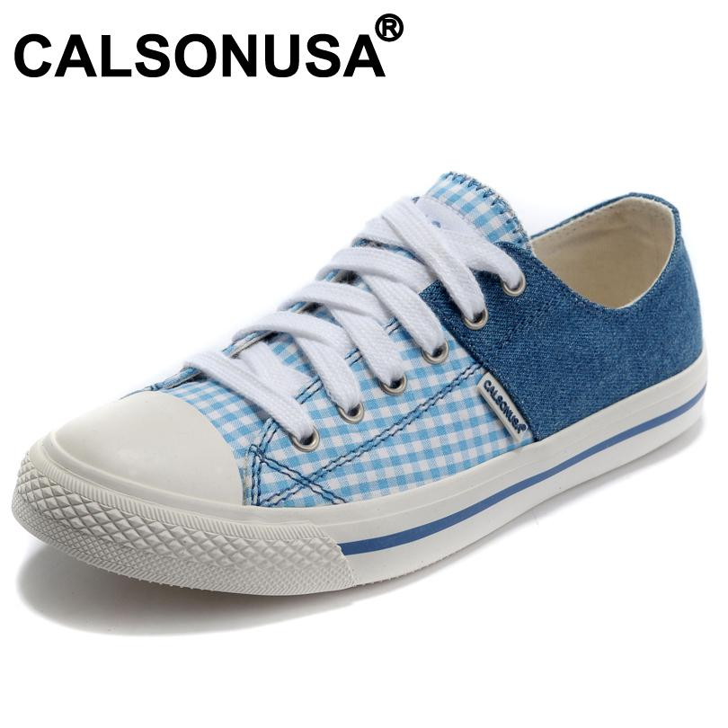 Denim Patchwork Blue Plaid Canvas Sneakers Women, Low Fashion 2013