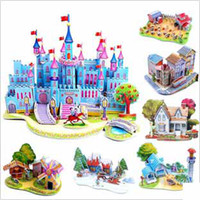 Wholesale EMS baby dream Castles D Puzzle houses paper craft Model Buildings kids Educational Toys child d Jigsaw Games many different styles