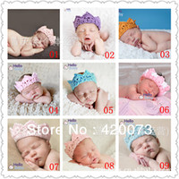 Wholesale new style piece elastic stretch crochet headband infant handmade crown headband