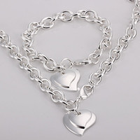 amazing lemons - Amazing Silver Links Chain Fit Double Hearts Charms Necklace amp Bracelet quot Jewelry Set