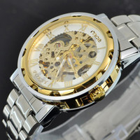 Wholesale 1PCS New Arrival Gold Mens Skeleton Stainless Steel Mechanical Watch