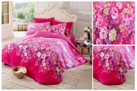 Wholesale Beautiful Pink Bedding Set Cotton Fabric Comforter Sets Full Size Duvet Cover Bed Sheet Two Pillowcases with Flowers Pattern CM0105087