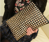 pyramid studs - Black PU leather Gold Pyramid Rivet Studs Clutch Zipper Bag Wallet Shoulder Bag